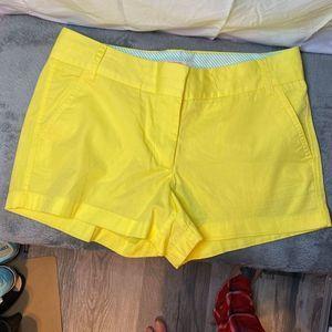j crew yellow chino shorts